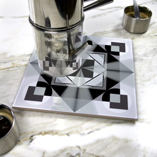 """Geometric Center I"" by Némo Welter on ceramic trivet"