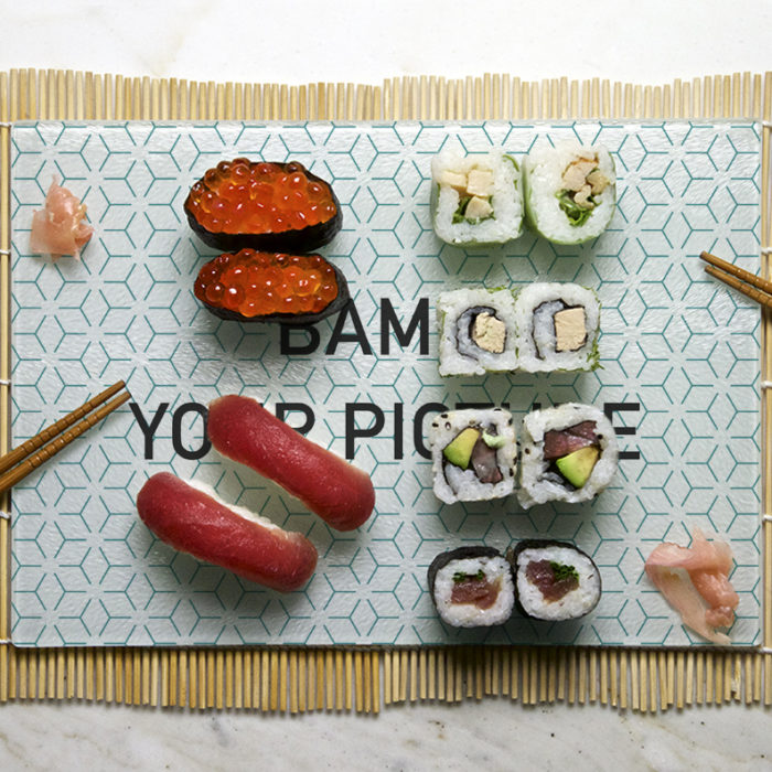 setting in situation of the customizable tasting tray with sushis