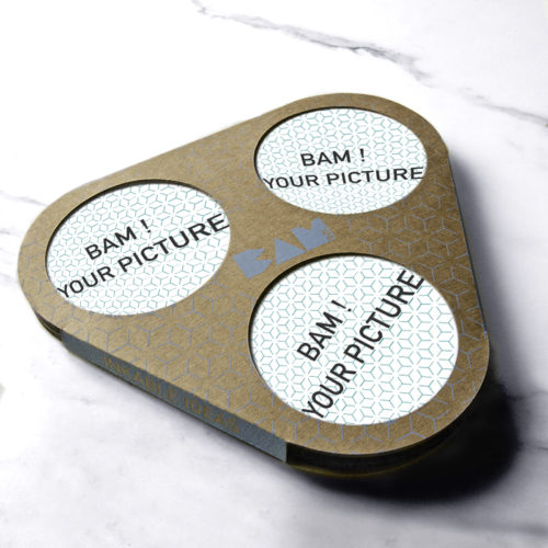 customizable coaster ceramic on marble background with packaging
