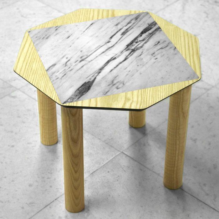 BAMink-table-basse-frêne-Oktō-sol en marbre-Némo Welter-Marbre-I