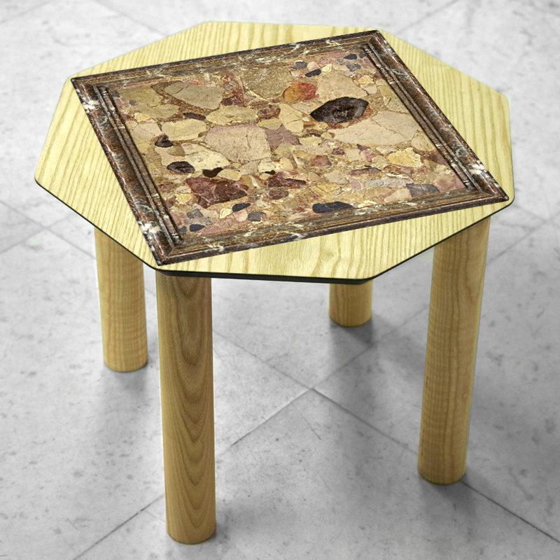 BAMink-table-basse-frêne-Oktō-sol en marbre-Némo Welter-Marbre-II