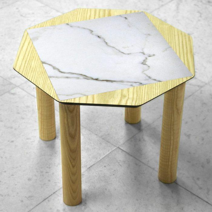 BAMink-table-basse-frêne-Oktō-sol en marbre-Némo Welter-Marbre-III