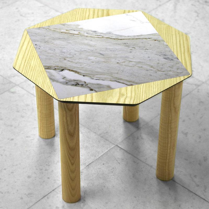 BAMink-table-basse-frêne-Oktō-sol en marbre-Némo Welter-Marbre-IV