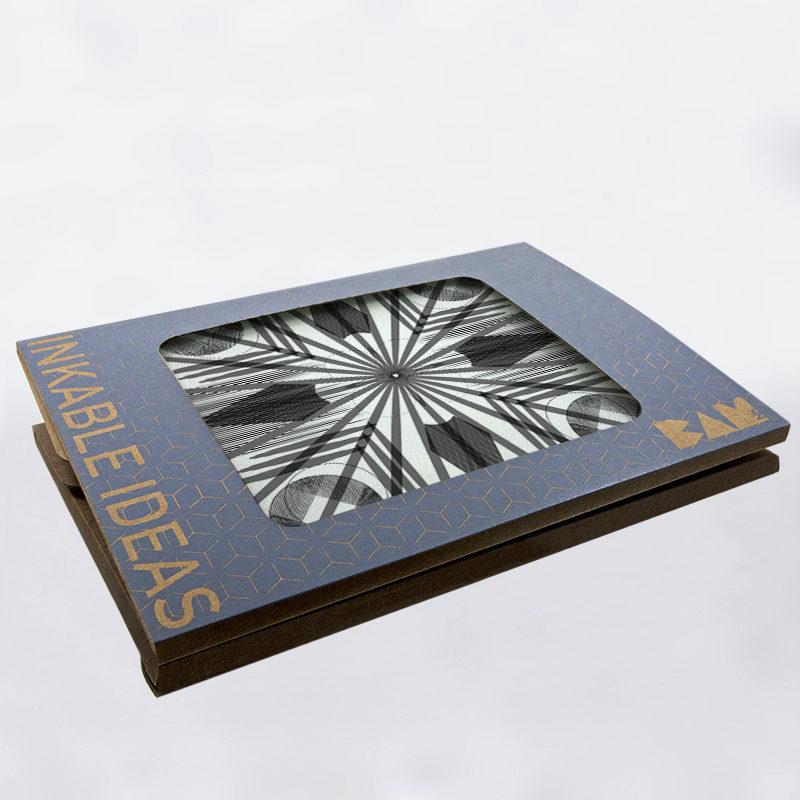 Plateau de dégustation de la collection Geometry avec son packaging BAMink officiel
