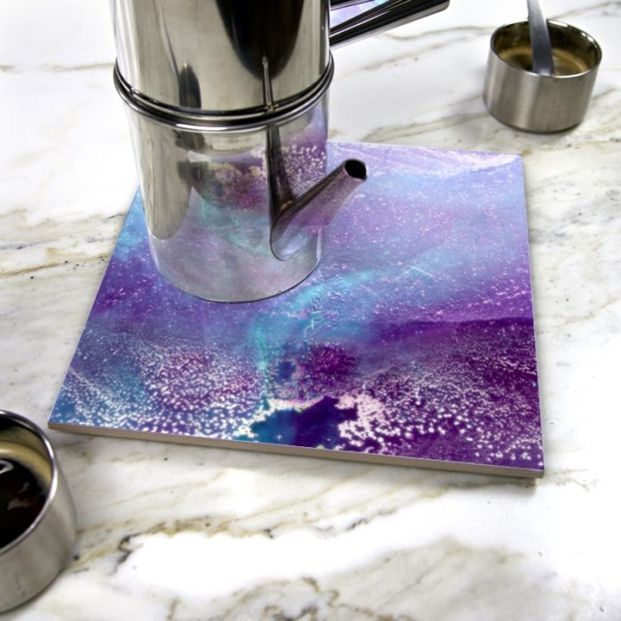 """Blue Lydic"" by Yannick Pirson on ceramic trivet"