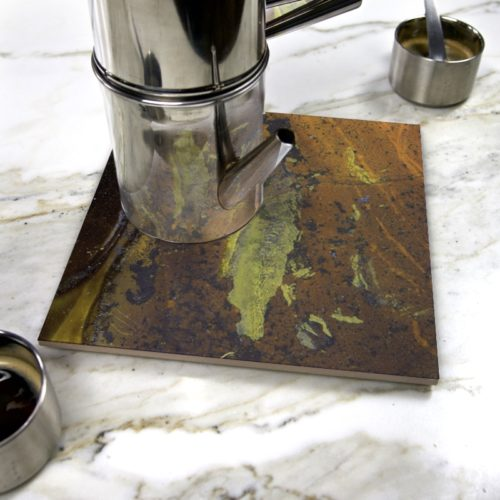 """Ool Green"" by Yannick Pirson on ceramic trivet"