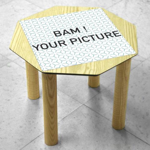 Coffee-Table-OKTŌ-OKTO on marble base- square plate matte customize