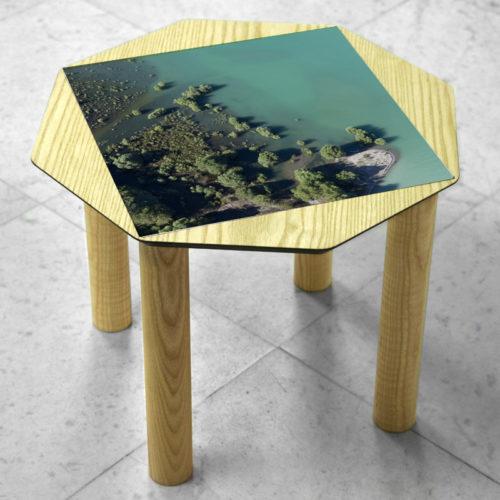 BAMink-table-basse-frêne-Oktō-sol en marbre-Matthieu Colin-Embrun